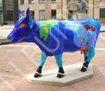 The cow was painted at Excel sponsored by a wine company