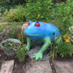 Gustav the Frog Painted by Gillian atThe Royal Hill allotment Greenwich.